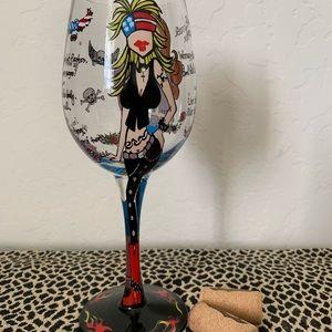 Handpainted Biker Babes Wine Glass NEW